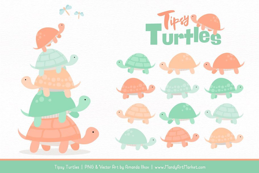 Turtle stack clipart clip art library download Mint & Peach Turtle Stack Clipart clip art library download