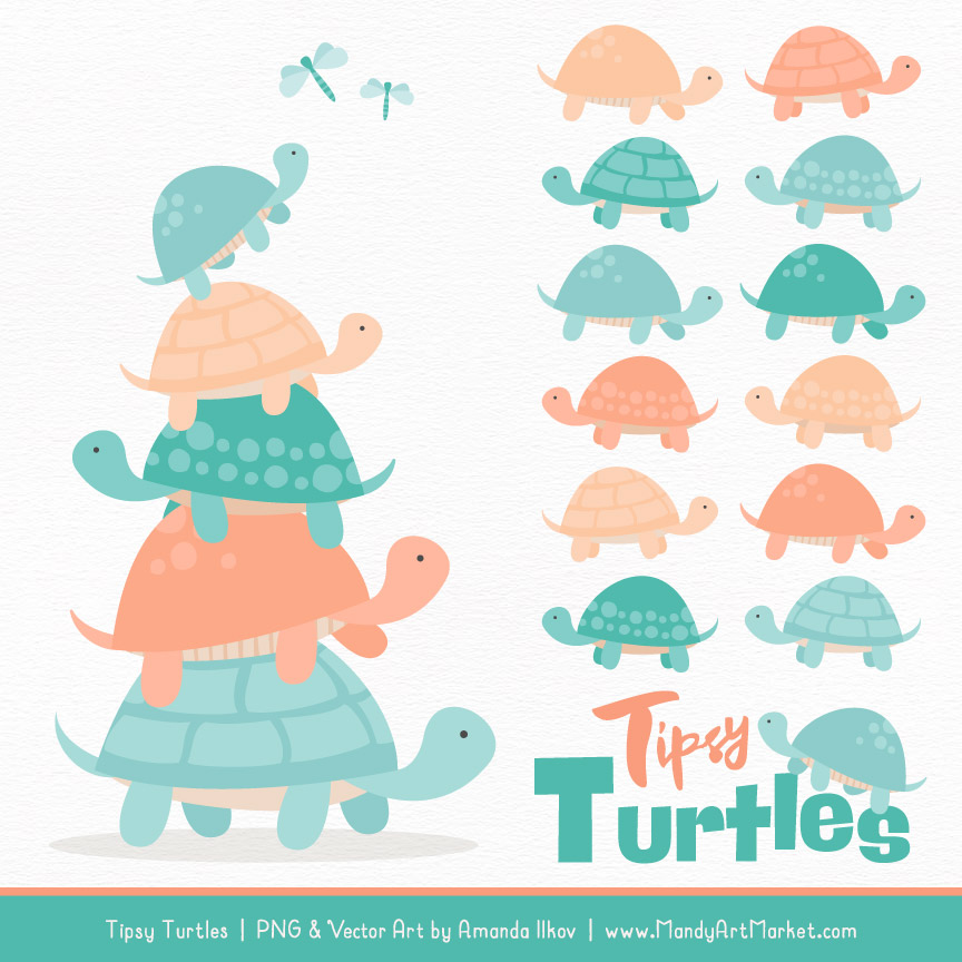 Turtle stack clipart png royalty free stock Aqua & Peach Turtle Stack Clipart Vectors png royalty free stock