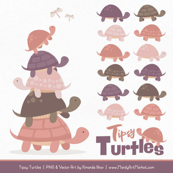 Turtle stack clipart banner black and white stock Sweet Stacks Tipsy Turtles Stack Clipart in Buff banner black and white stock