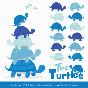 Turtle stack clipart png black and white download Sweet Stacks Tipsy Turtles Stack Clipart in Blue png black and white download