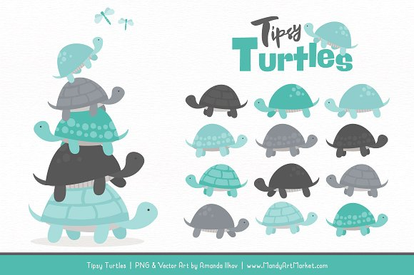 Turtle stack clipart clip art transparent library Aqua & Pewter Turtle Stack Clipart clip art transparent library