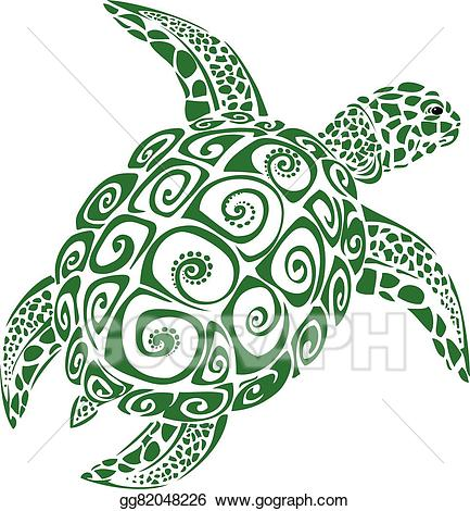 Turtle vector clipart clip art freeuse library Vector Clipart - Green sea turtle. Vector Illustration ... clip art freeuse library