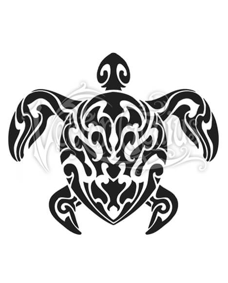 Turtle vector clipart image black and white Tropical Tribal Tattoo Sea Turtle ClipArt image black and white