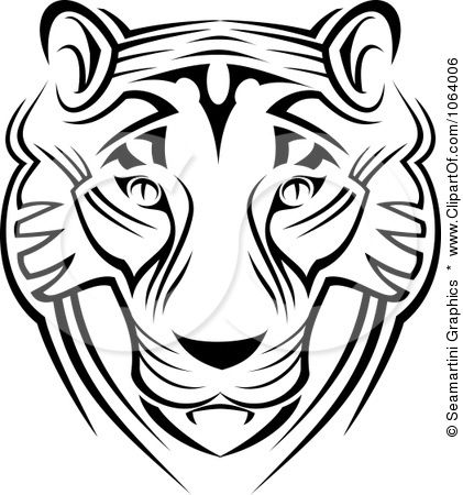 Tuskegee tiger logo black and white clipart png png freeuse Clipart Tribal Tiger Face - Royalty Free Vector Illustration by ... png freeuse