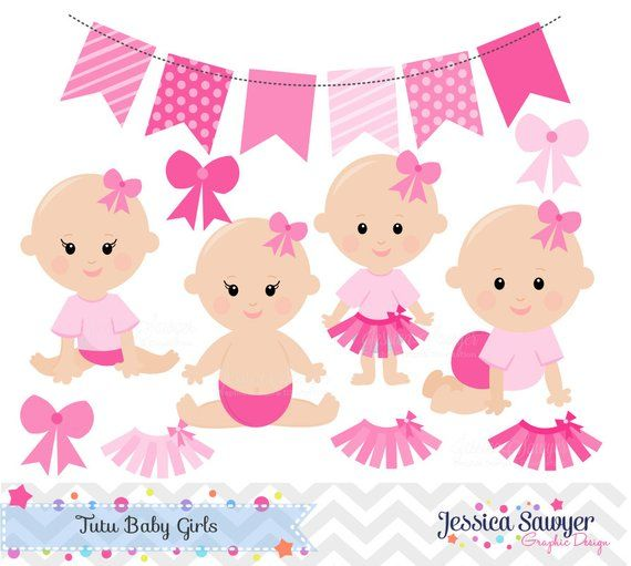 Tutu clipart etsy svg royalty free download INSTANT DOWNLOAD - Baby Girl Clipart and Vectors for Tutu ... svg royalty free download