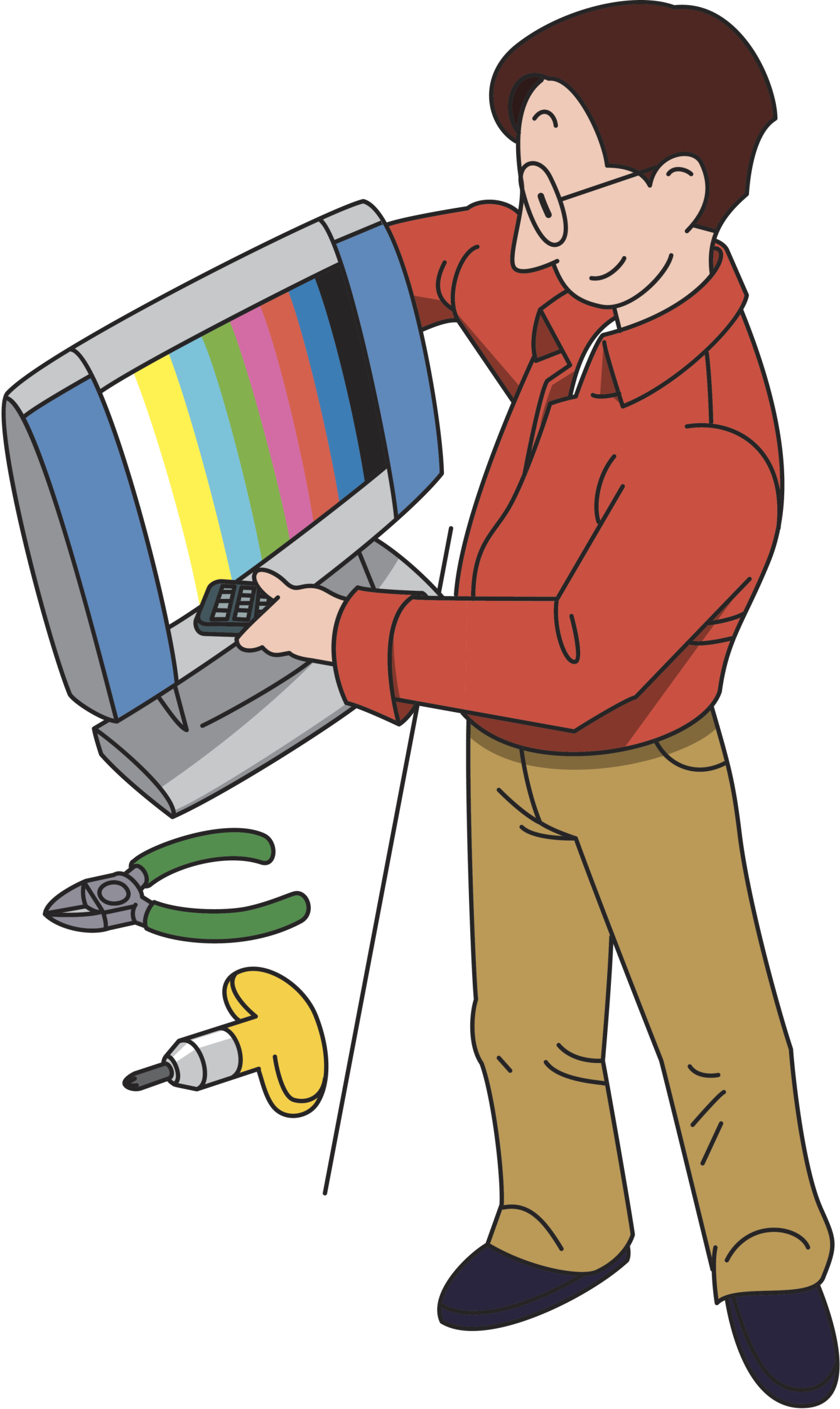 Tv technician clipart jpg black and white Home Theatre Installation   West Palm Beach, FL   Home ... jpg black and white