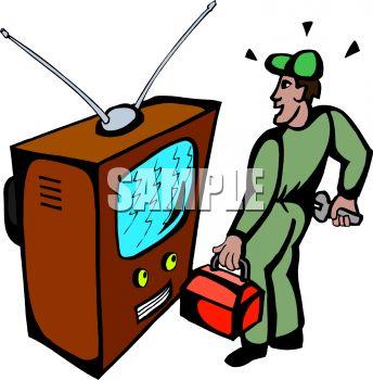 Tv technician clipart jpg black and white stock Repairman Clipart   Free download best Repairman Clipart on ... jpg black and white stock