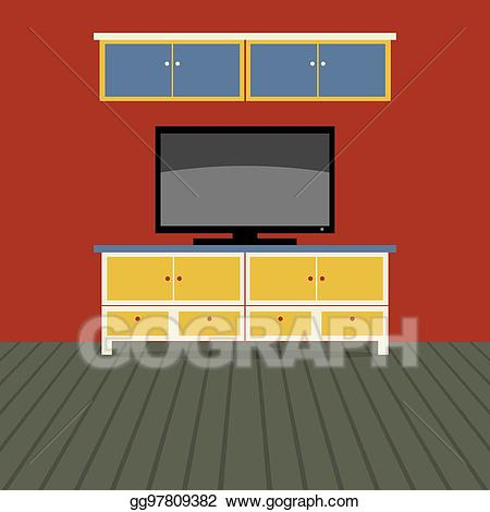 Tv wall clipart graphic black and white library Vector Stock - Tv shelf with wall cabinet vector ... graphic black and white library