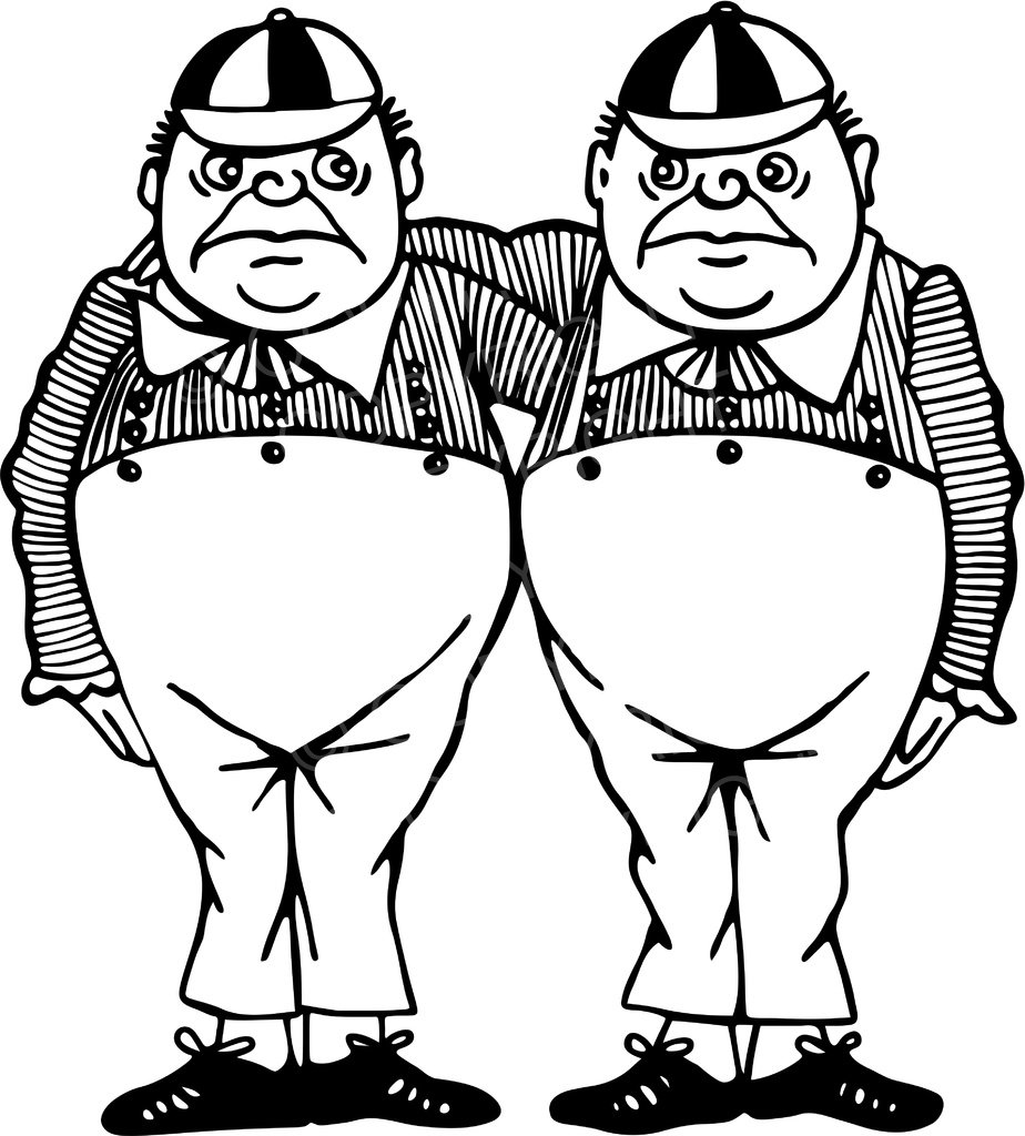 Tweedle dee clipart jpg black and white download Black & White Line Drawing of Tweedle Dum & Tweedle Dee ... jpg black and white download
