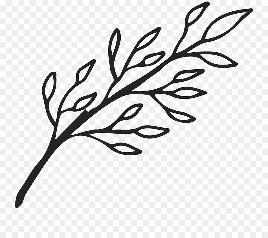 Twig clipart png royalty free download Black And White Flower png download - 800*800 - Free ... png royalty free download