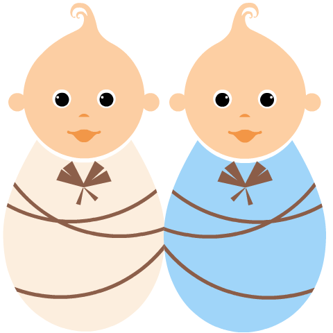 Twins clipart images clip art black and white stock Free baby clipart: boy and girl twins   table mat   Free ... clip art black and white stock