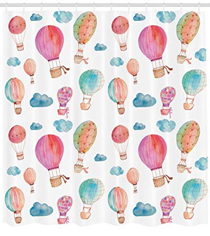 Twins floting down in hotair bollon clipart graphic Ambesonne Watercolor Shower Curtain, Hand Painted Style Cute Floating Hot  Air Balloons with Blue Clouds Print, Fabric Bathroom Decor Set with Hooks,  ... graphic