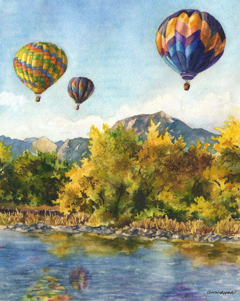 Twins floting down in hotair bollon clipart image free library Water Balloon Paintings | Fine Art America image free library