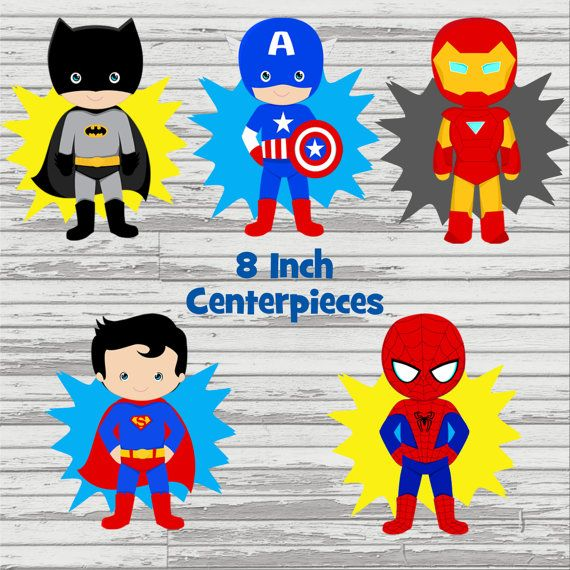 Twins superheroes clipart png download Superhero and Princess Twins/Joint Party 8 inch Centerpieces ... png download