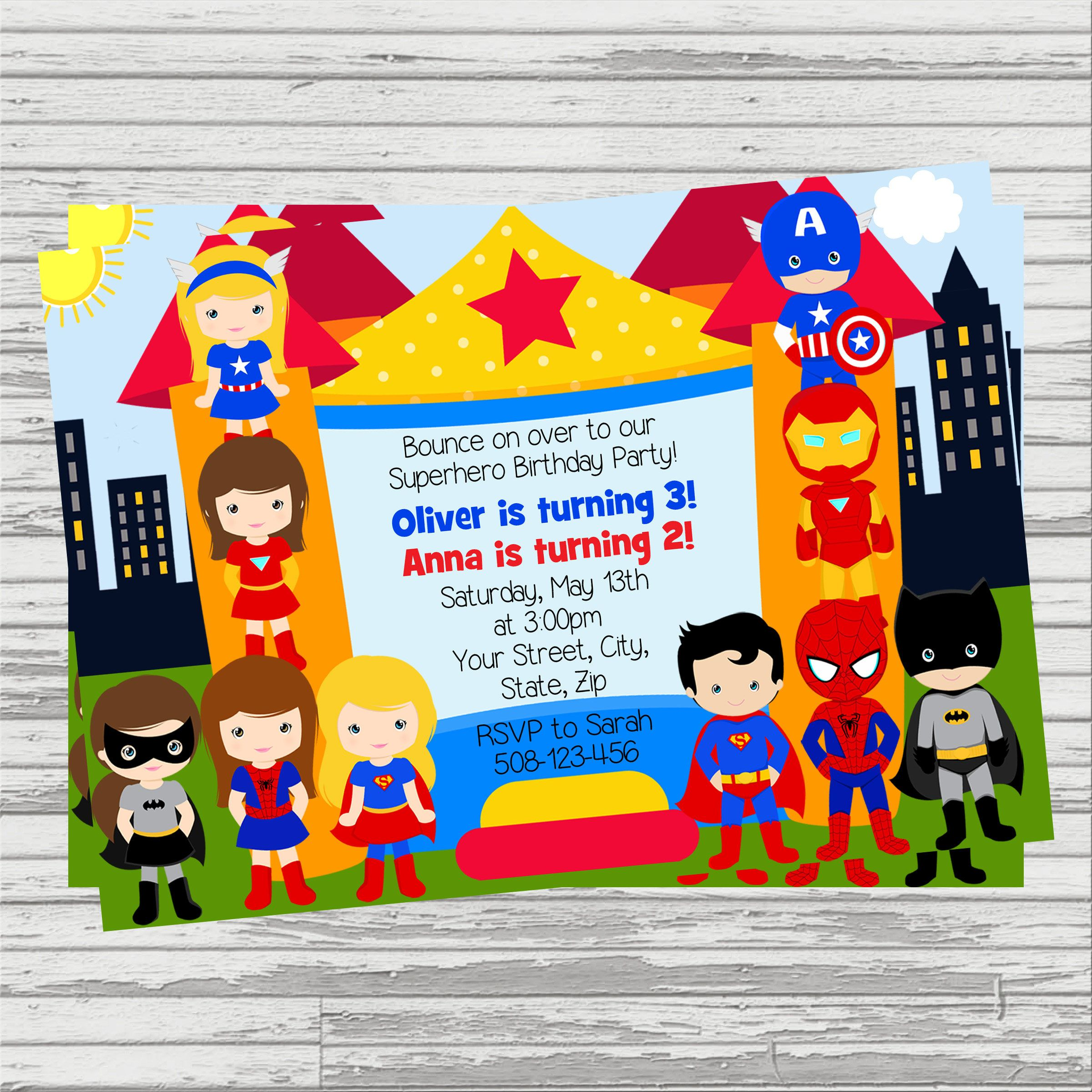 Twins superheroes clipart vector royalty free download Superhero Bounce House Party (Twins/Joint Birthday) Custom ... vector royalty free download