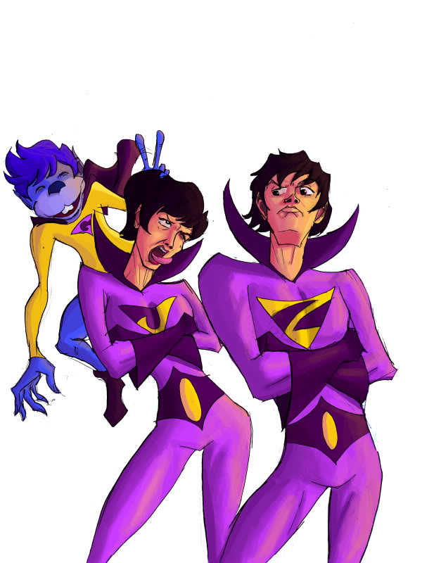 Twins superheroes clipart vector royalty free stock July \'09 Art Contest Vote - Wonder Twins and Gleek - The ... vector royalty free stock
