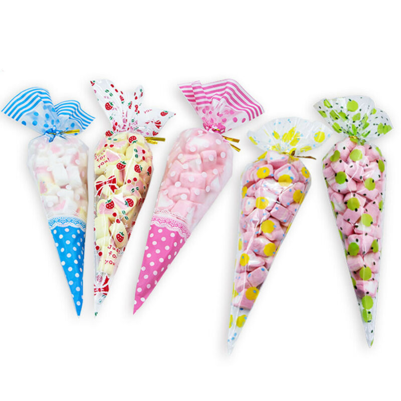 Twist candy wrap clipart clipart free stock Details about 50PCS Wrapping Clear Gift Candy Cone Bag Cellophane Twist  Ties Triangle Package clipart free stock