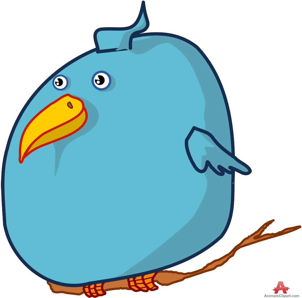 Twitter bird clipart png royalty free Fat Twitter Bird on Branch | Free Clipart Design Download png royalty free