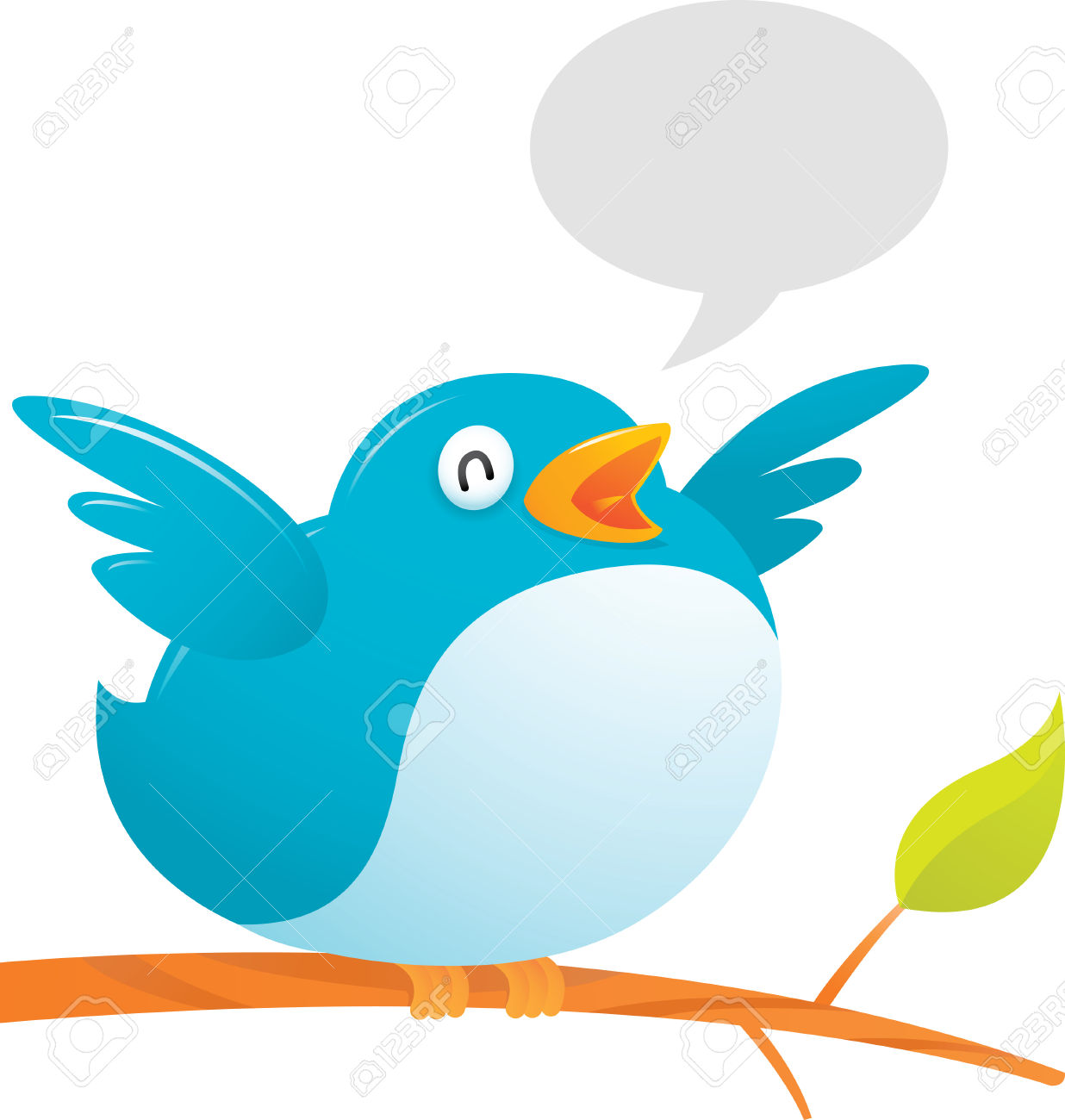 Twitter bird clipart free Illustration Of Fat Twitter Bird On Tree Royalty Free Cliparts ... free