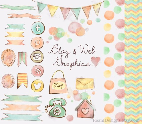 Twitter clipart for website png stock Watercolor Blog and Web Graphics Clipart - Social Media Icons ... png stock