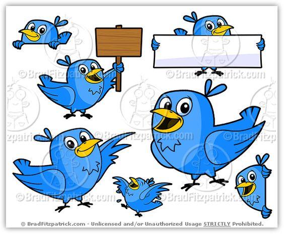 Twitter clipart vector banner library download Cartoon Twitter Bird Clipart Character Vector Pack | ClipArt for ... banner library download