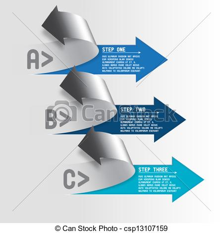 Two and three arrow clipart image free stock Clipart Vector of Three step arrows - Next steps conception ... image free stock