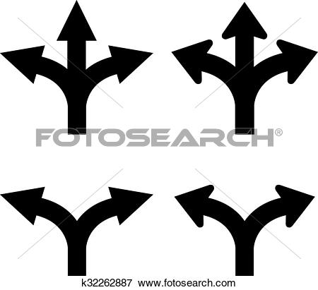 Two and three arrow clipart clipart freeuse library Clip Art of Two and three way arrow k32262887 - Search Clipart ... clipart freeuse library
