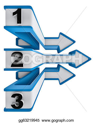 Two and three arrow clipart jpg black and white library Drawing - One two three - symbol progress for three steps. Clipart ... jpg black and white library