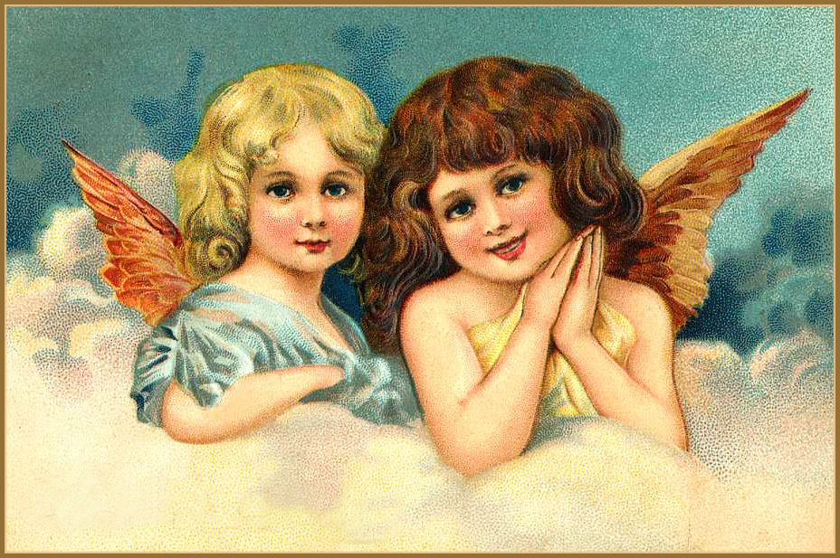 Two angels victorian clipart