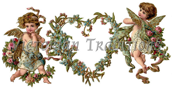 Two angels victorian clipart vector transparent Viintage Valentine Clipart - Two Angels with a Heart Shaped ... vector transparent