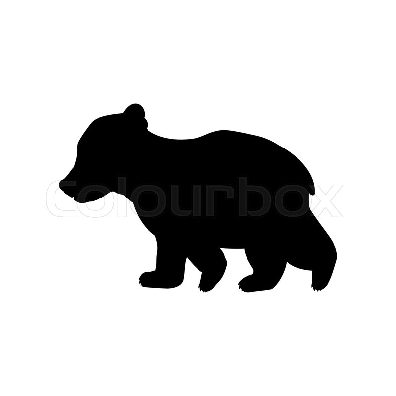 Two bear cubs clipart black clip freeuse stock Bear cub wild black silhouette animal. ... | Stock vector ... clip freeuse stock