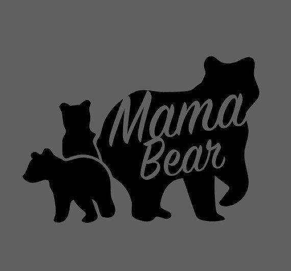 Two bear cubs clipart black freeuse Mama Bear with cubs .SVG file for vinyl cutting | Products ... freeuse