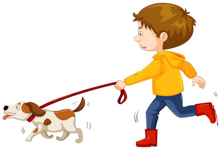 Two boys running with dog on leash clipart vector royalty free stock Little boy walking dog Vector - Download Free Vector Art ... vector royalty free stock