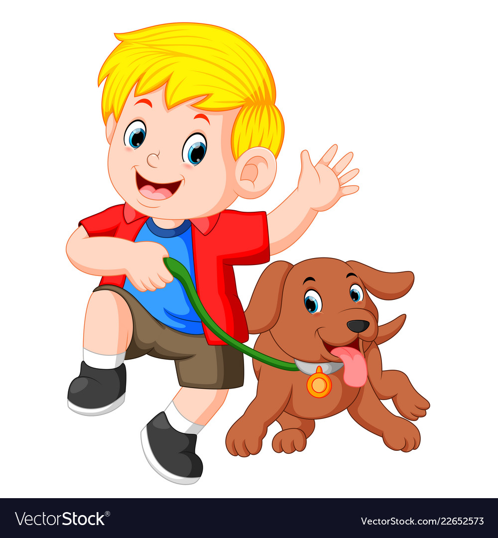 Two boys running with dog on leash clipart png library Little boy running with dog png library
