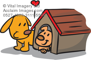 Two dogs clipart clip art royalty free library Clip Art Illustration of Two Dogs and a Dog House clip art royalty free library