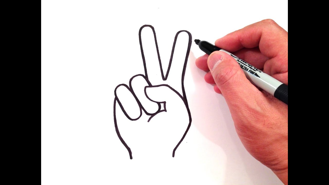 Pencil drawn three finger hand signal clipart clipart black and white How to Draw a Peace Sign clipart black and white