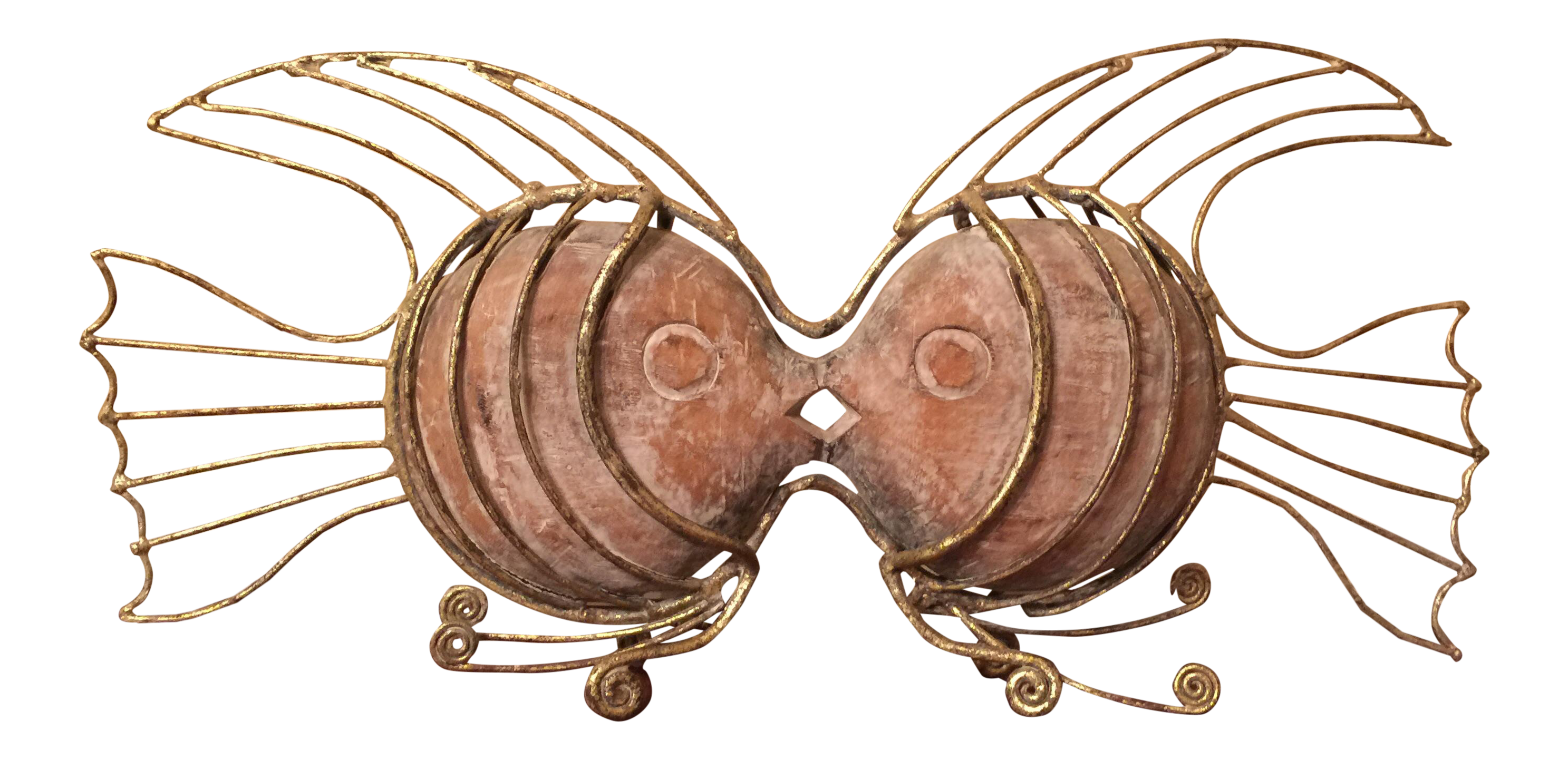 Two fish kissing clipart image freeuse Gilded Metal & Carved Wood Kissing Fish Sculpture   Chairish image freeuse