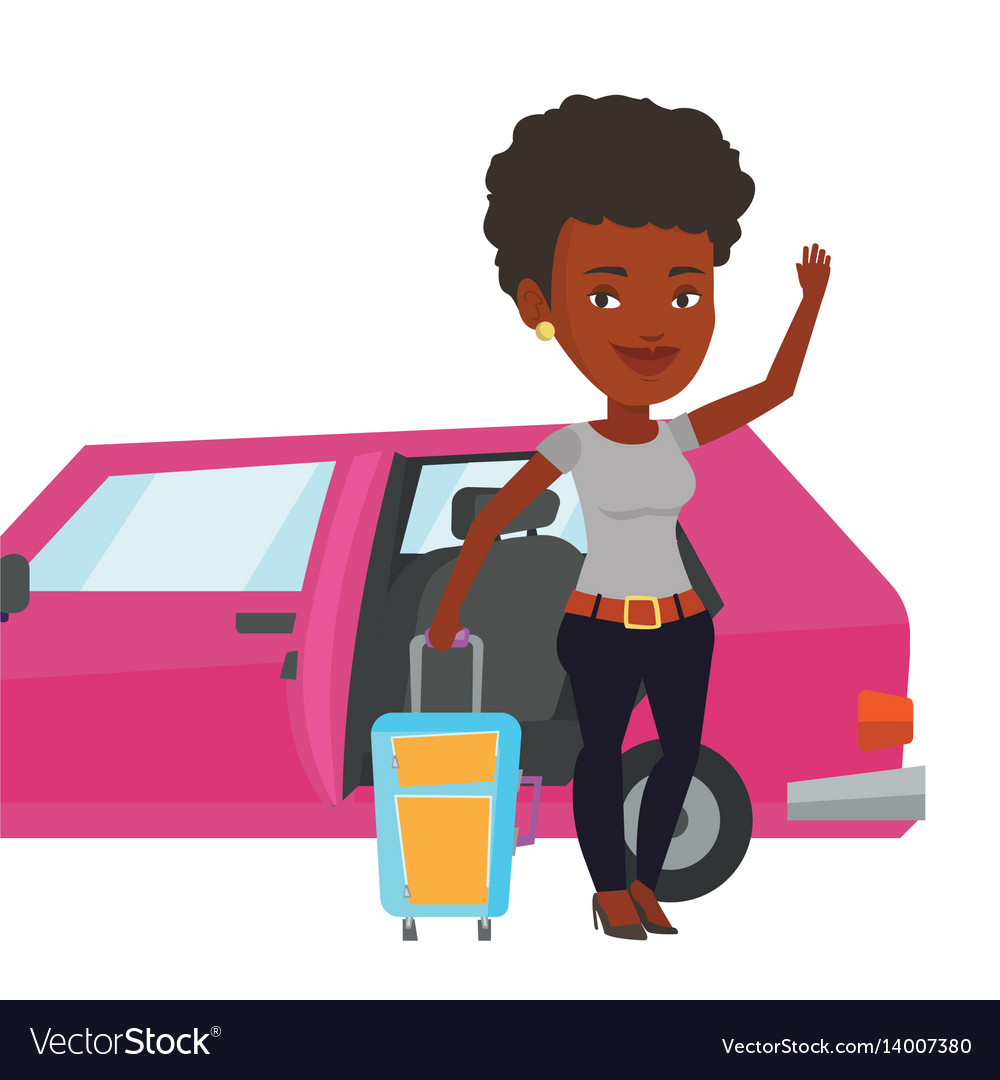 Two girls in car waving goodbye clipart graphic library download African-american woman traveling by car vector image graphic library download