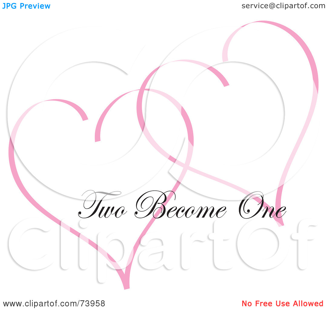 Two hearts become one clipart clip library library Royalty-Free (RF) Clipart Illustration of Two Pink Heart Outlines ... clip library library
