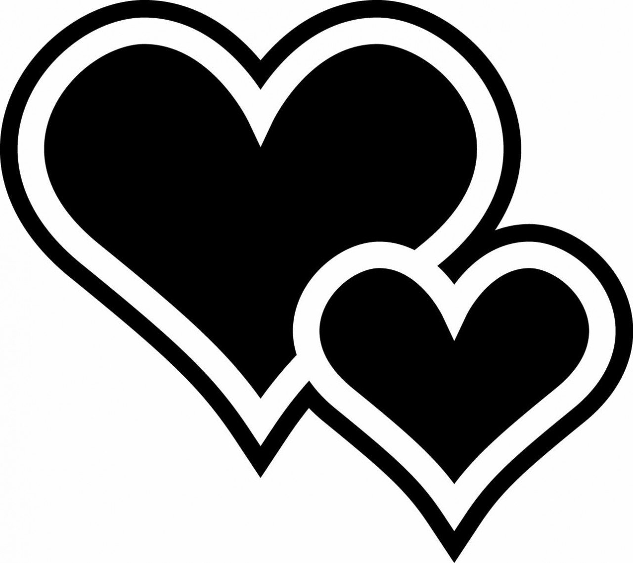 Two hearts clip art image royalty free Two Hearts Black Clipart - Clipart Kid image royalty free