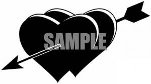 Two hearts clipart black and white picture royalty free download Black and White Valentine Clipart Picture of Two Hearts with an Arrow picture royalty free download