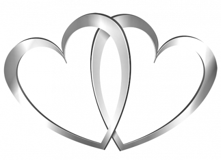 Two hearts clipart wedding banner black and white stock Wedding Rings With Two Hearts Clip Art - Namsp banner black and white stock