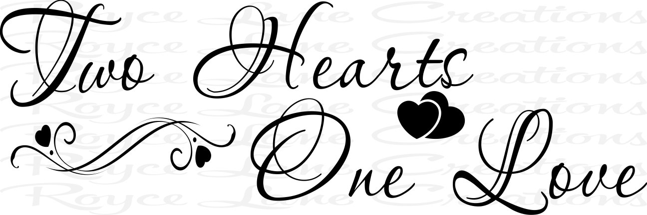 Two hearts one love clipart graphic library library Two Hearts One Love Bedroom Decal graphic library library