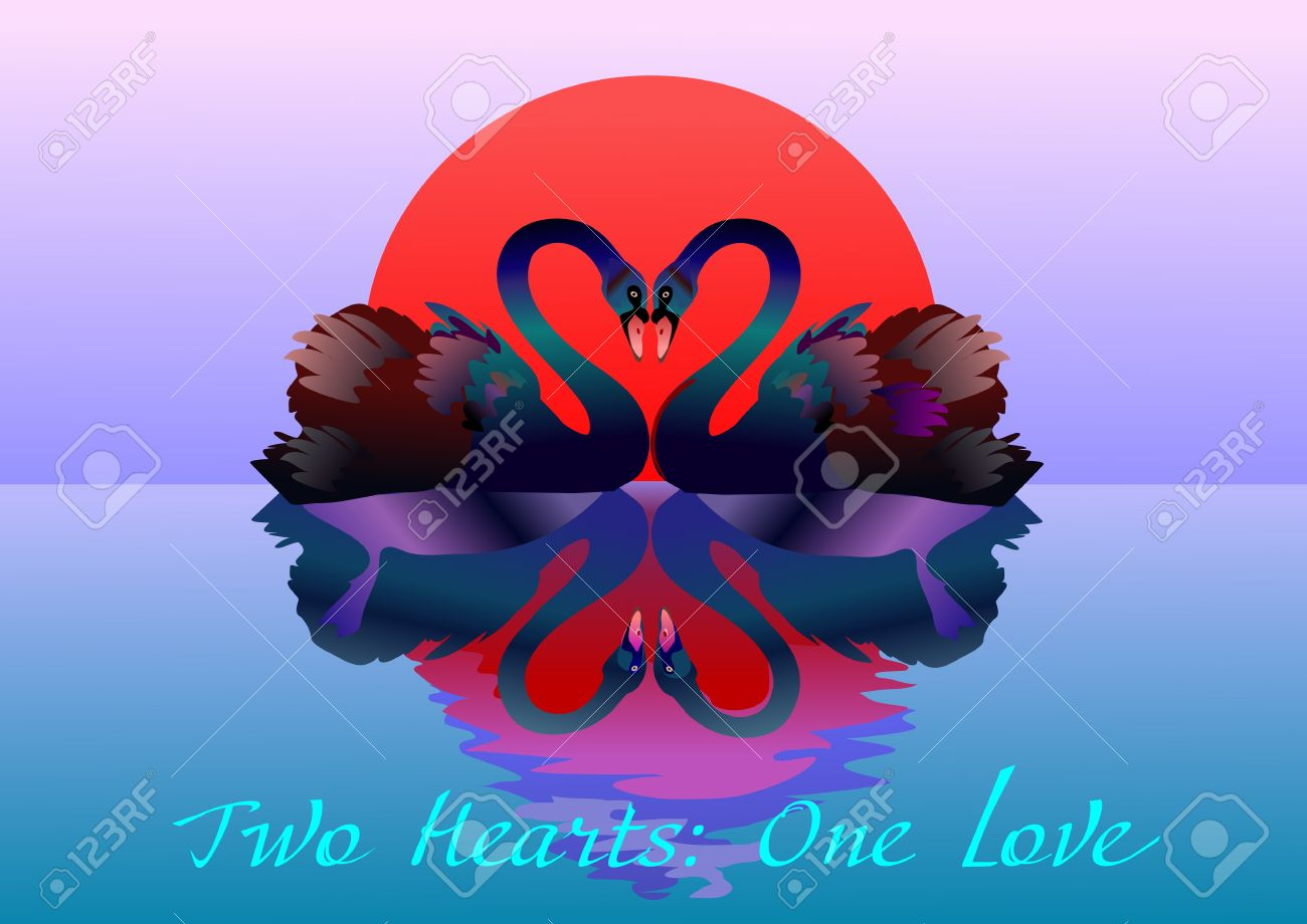 Two hearts one love clipart picture royalty free stock Two Graceful Swans In Love. Two Hearts: One Love Royalty Free ... picture royalty free stock