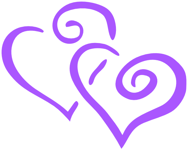 Two joined purple heart clipart black and white library Purple Heart Wedding Clip Art at Clker.com - vector clip art ... black and white library