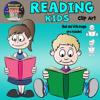 Two kids reading clipart graphic royalty free stock Kids Reading Clip Art - Mike and Sarah graphic royalty free stock