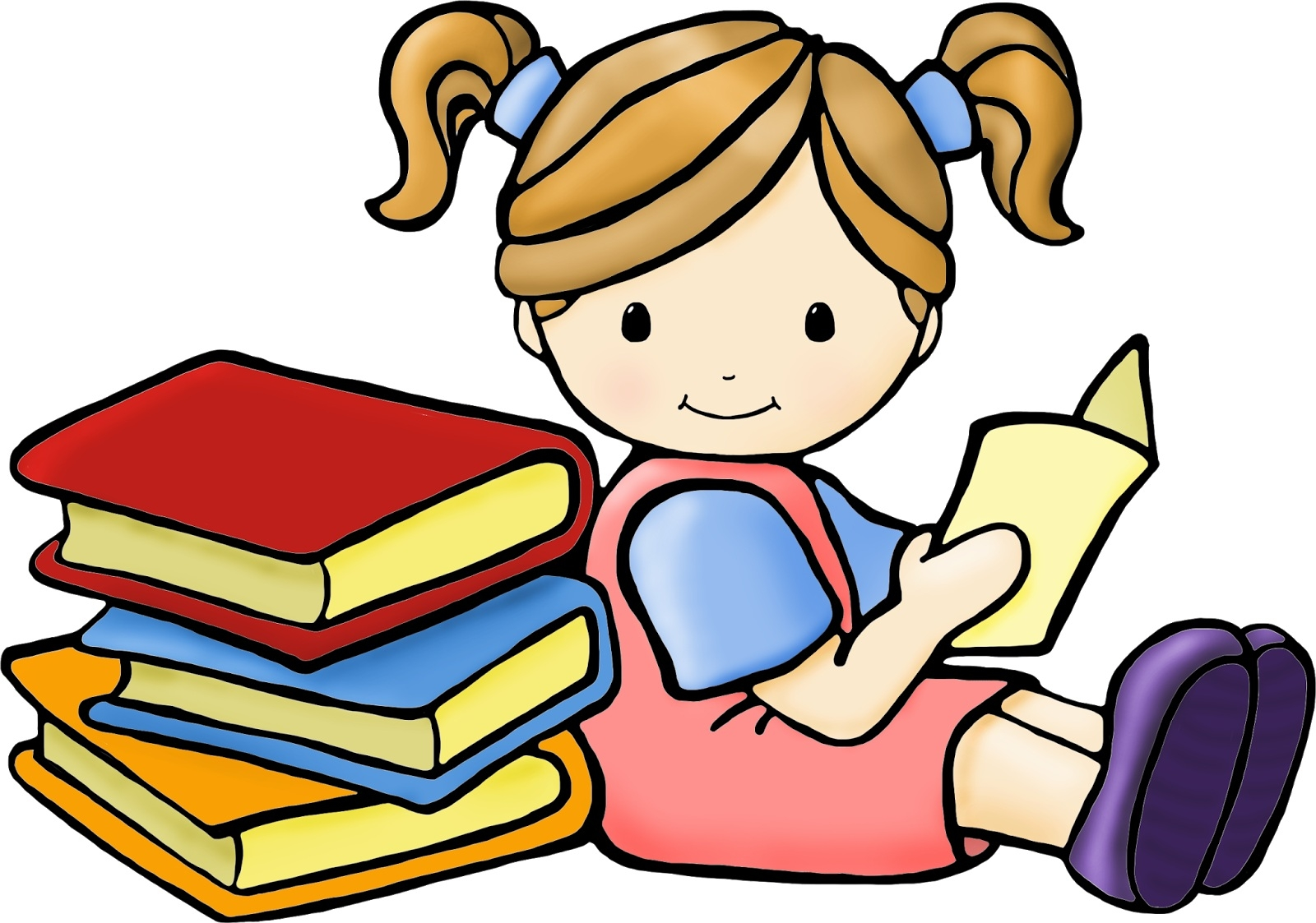 Two kids reading clipart clipart stock Two Kids Reading Under A Tree Free Clipart with Amazing Of ... clipart stock