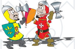 Two knights clipart clip download Clipart Illustration of a Battle Between Two Knights With ... clip download
