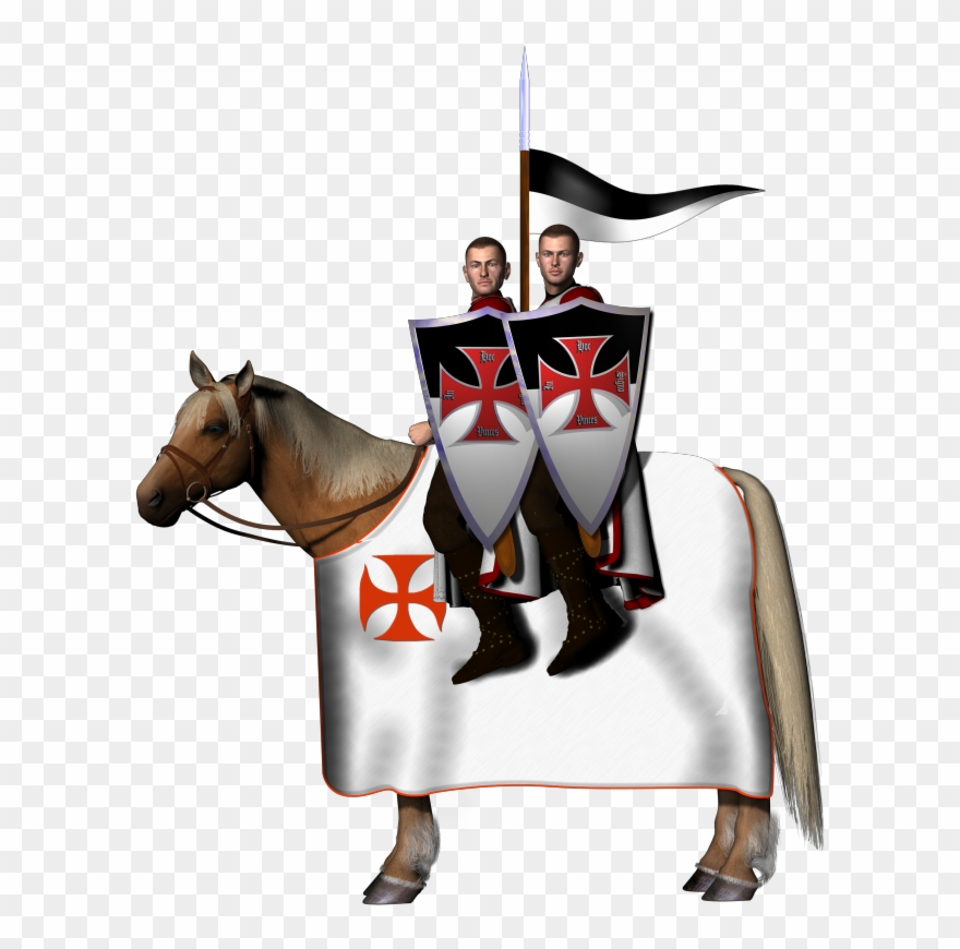 Two knights clipart svg black and white stock Two Mounted Knights - Templar Png Clipart (#1196013 ... svg black and white stock