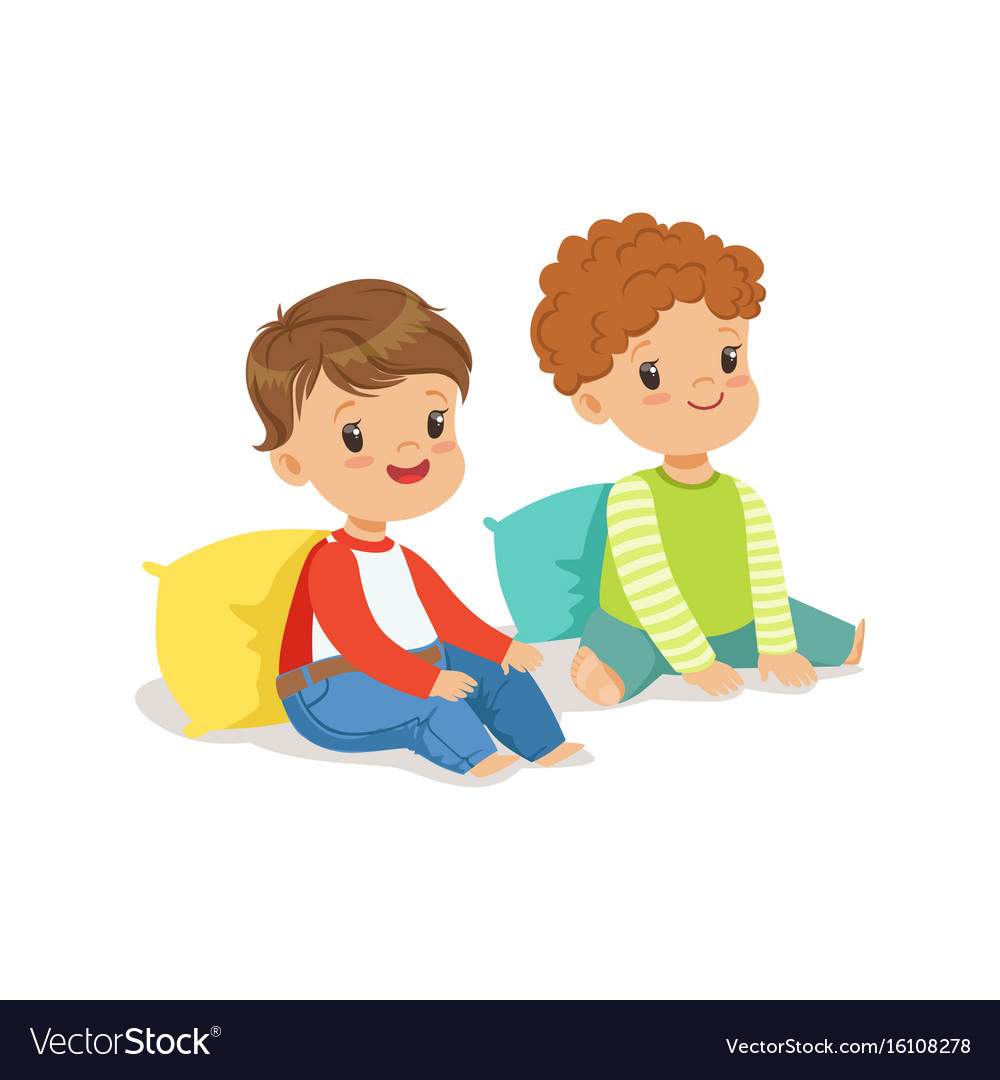 Two little boys clipart freeuse Two sweet smiling little boys sitting on the floor freeuse